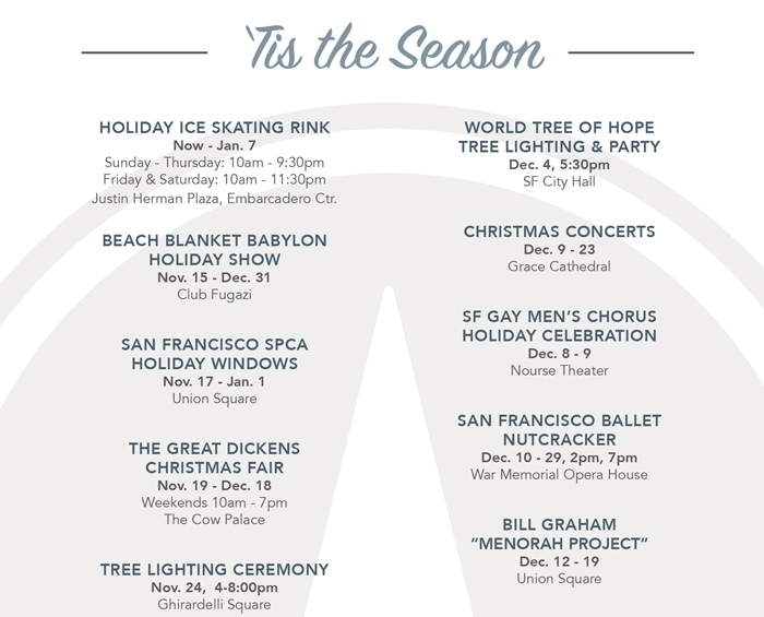 Sf Events Calendar.2017 Sf Holiday Events Calendar John Macon San Francisco Realtor